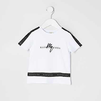 Mini boys white Maison Riviera tape T-shirt