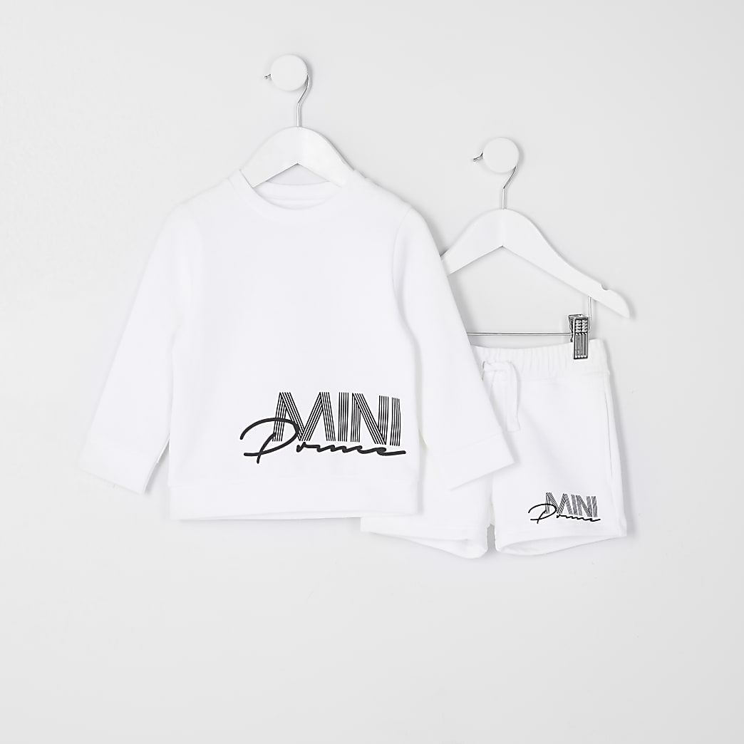 Mini boys white mini prince shorts outfit
