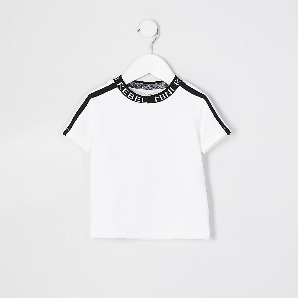 Mini boys white 'Mini rebel' neck t-shirt