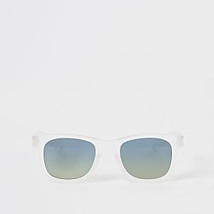 Mini –Weiße Retro-Sonnenbrille mit verspiegelten Gläsern