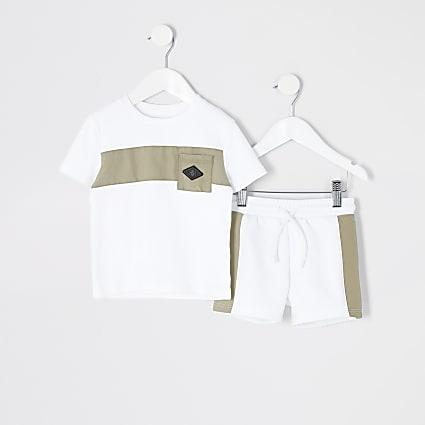 Mini boys white nylon blocked pocket set