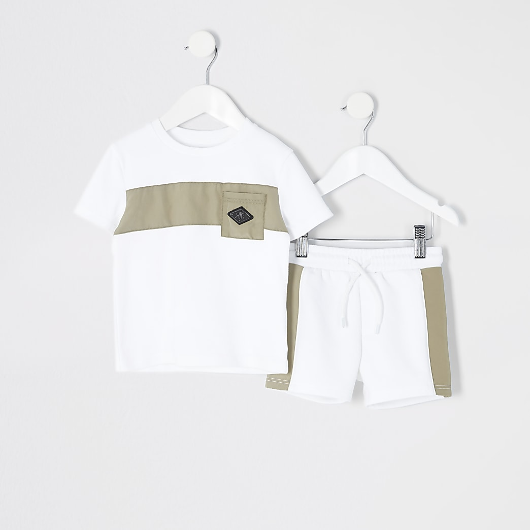 Mini boys white nylon blocked pocket set