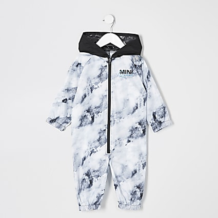 Mini boys white printed puddlesuit