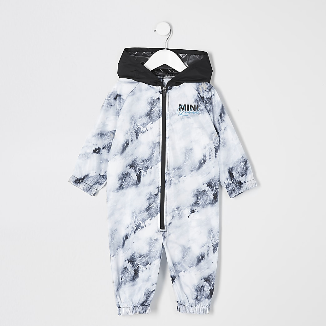 Mini boys white printed puddlesuit