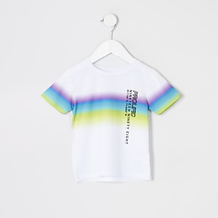 Mini boys white Prolific fade printed T-shirt