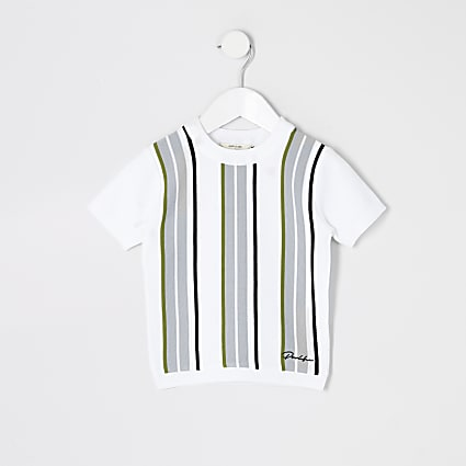 Mini boys white Prolific stripe knitted top