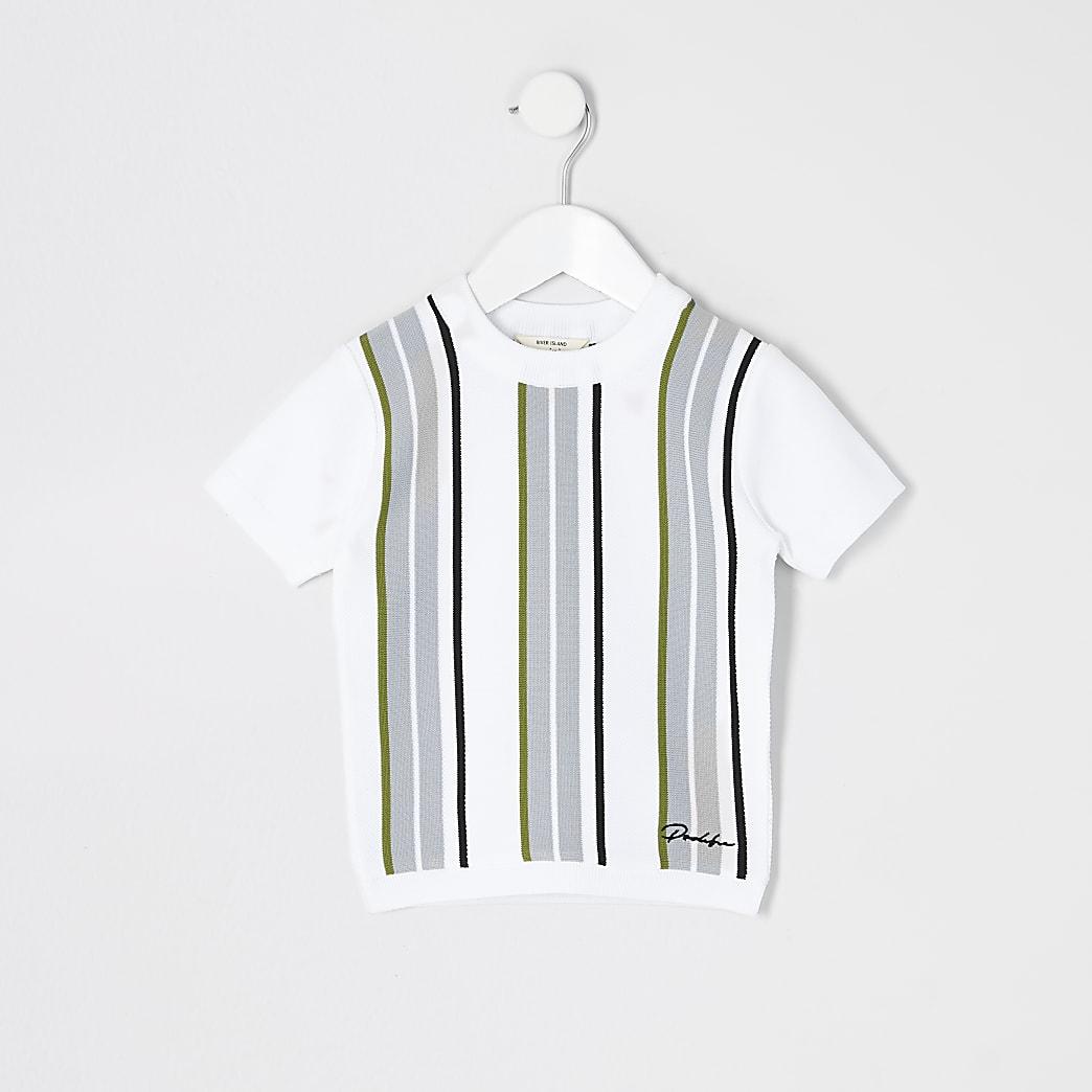 Mini boys white Prolific stripe knitted top