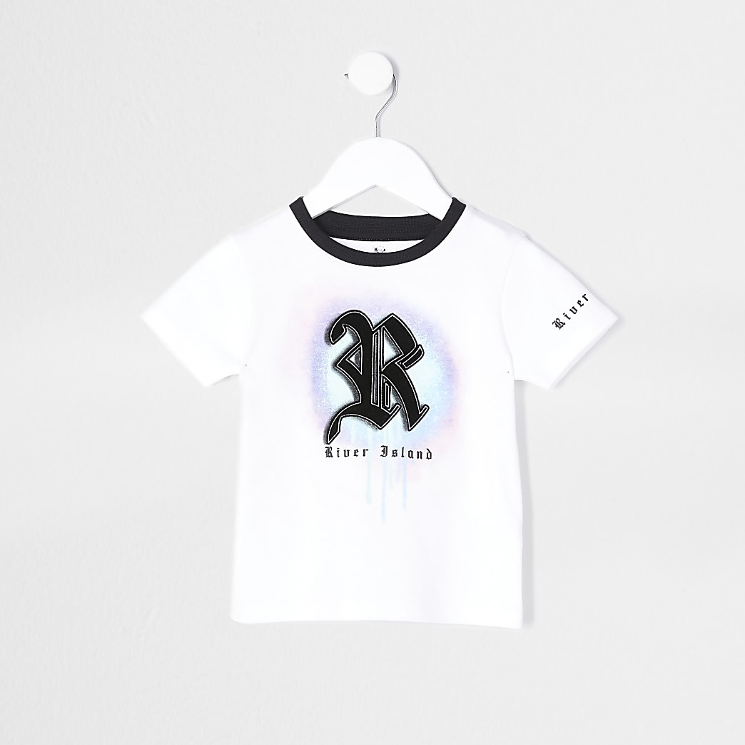 Mini boys white R drip spray print t-shirt