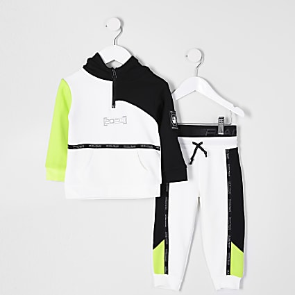 Mini boys white RI Active blocked tracksuit
