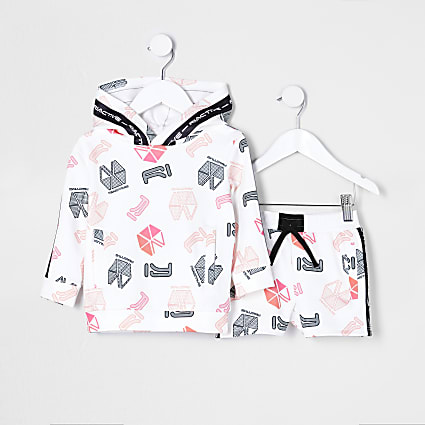 Mini boys white RI Active hoodie outfit