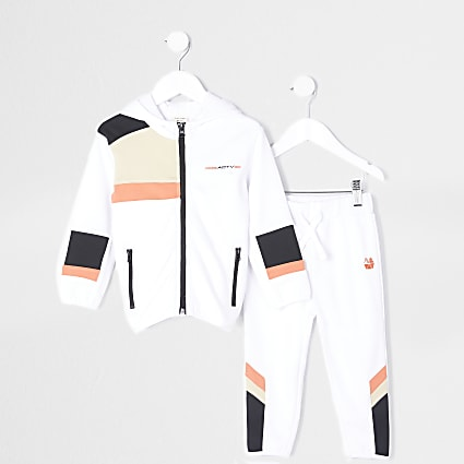 Mini boys white RI Active hoodie tracksuit