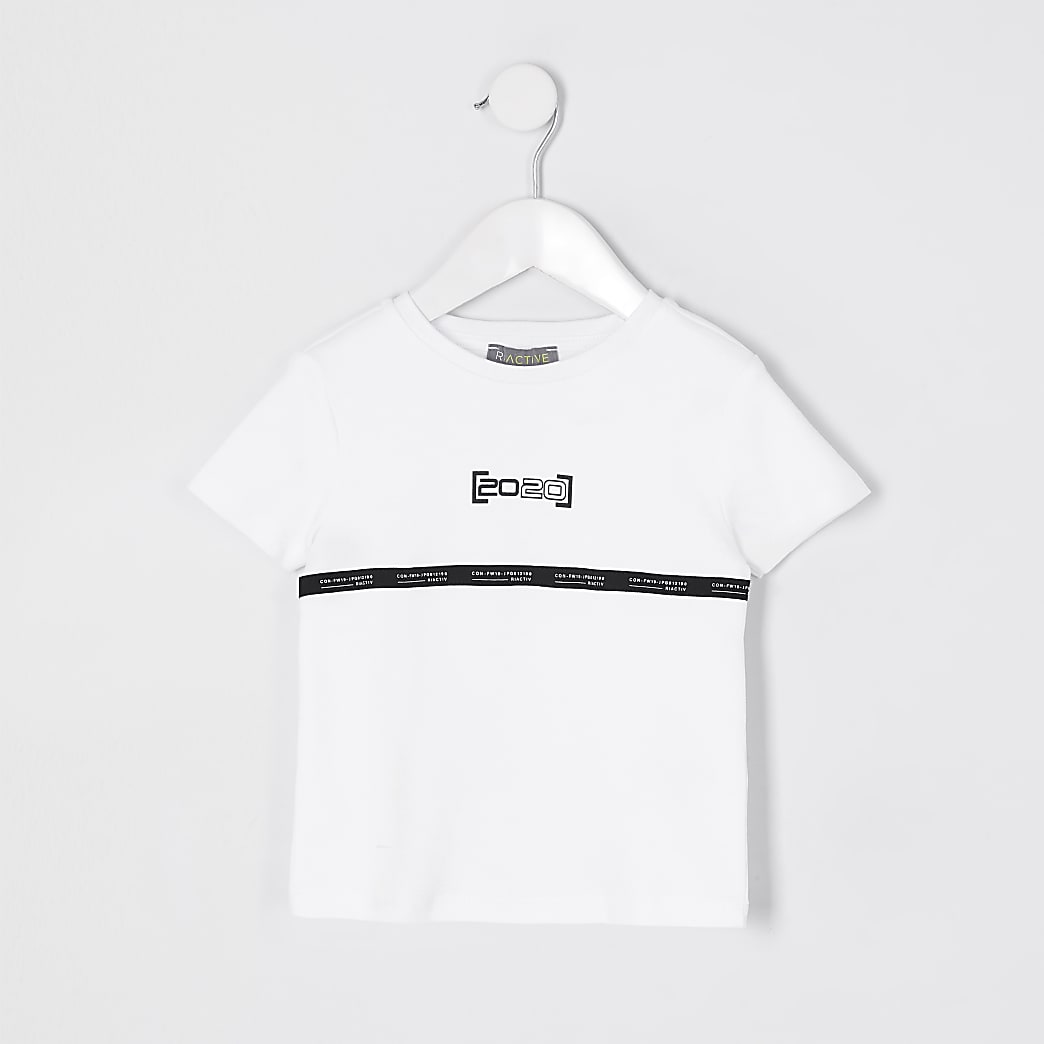 Mini boys white RI Active tape t-shirt