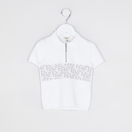 Mini boys white RI blocked monogram polo