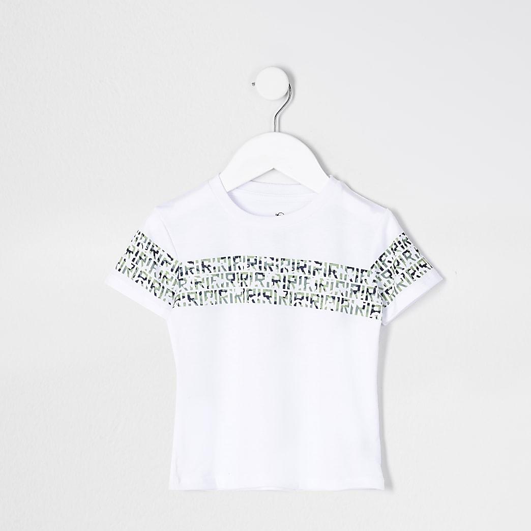 Mini boys white RI camo print t-shirt