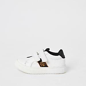 Mini - Witte sneakers met klittenband en RI-letters in reliëf voor jongens