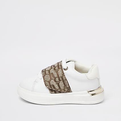 Mini boys white RI jacquard strap trainers