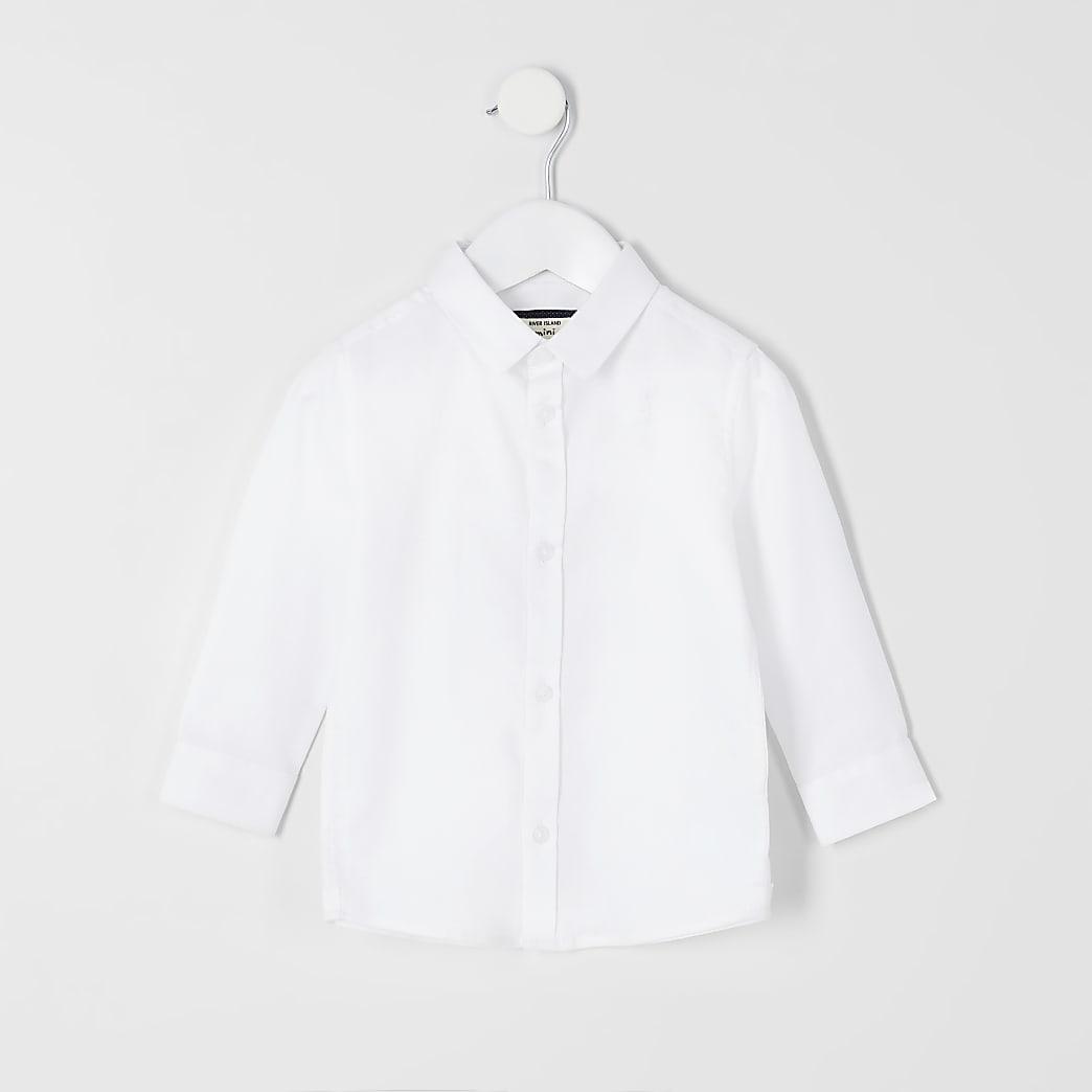 Mini - Wit overhemd met RI-logo en lange mouwen voor jongens