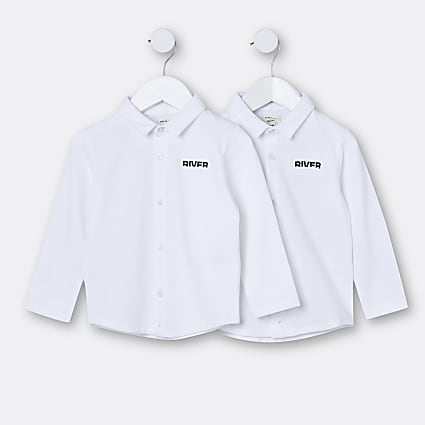 Mini boys white RI long sleeve shirts 2 pack