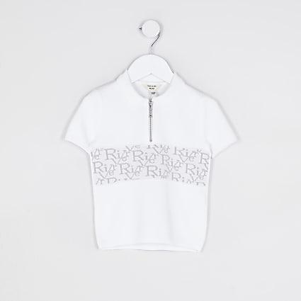 Mini boys white RI monogram polo shirt