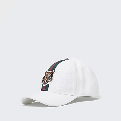 Mini boys white RI monogram tiger cap