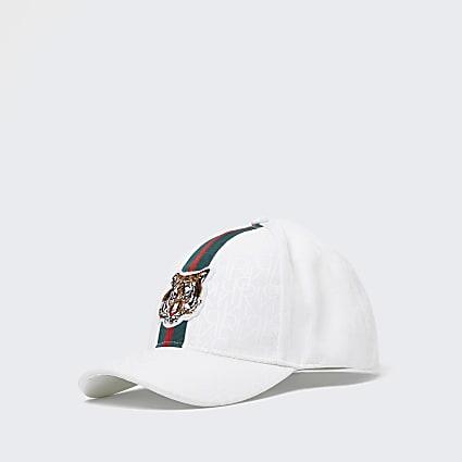 Mini boys white RI monogram tiger cap