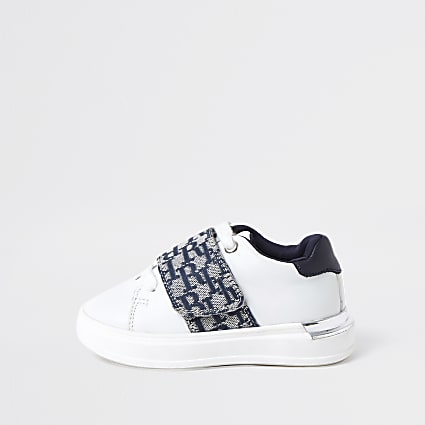 Mini boys white RI monogram trainers