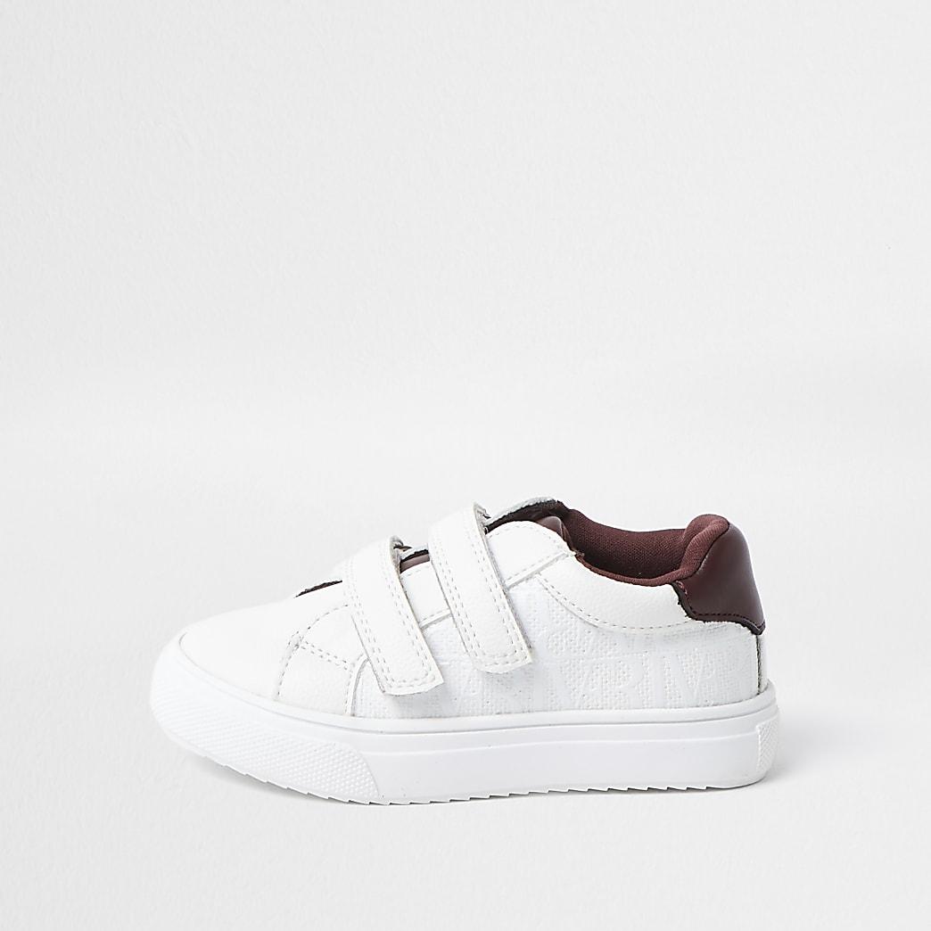 Mini boys white RI print trainers