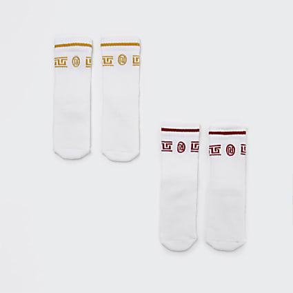 Mini boys white RI sport socks 2 pack