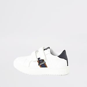 Mini - Witte sneakers met RI-print en bies aan zijkant voor jongens