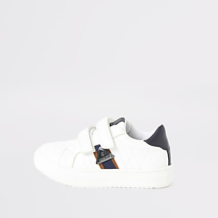 Mini boys white RI tape side trainers