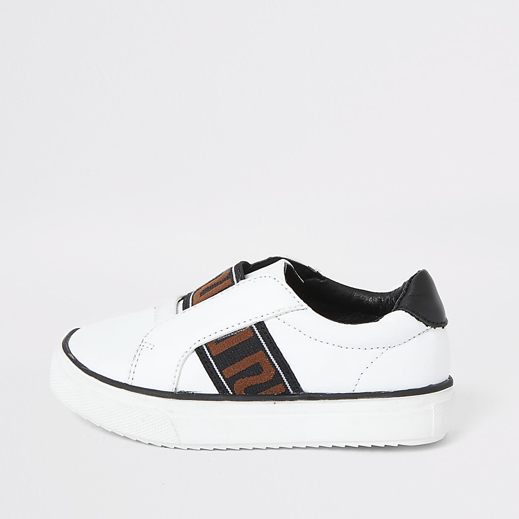 Mini boys white RI tape slip on trainers
