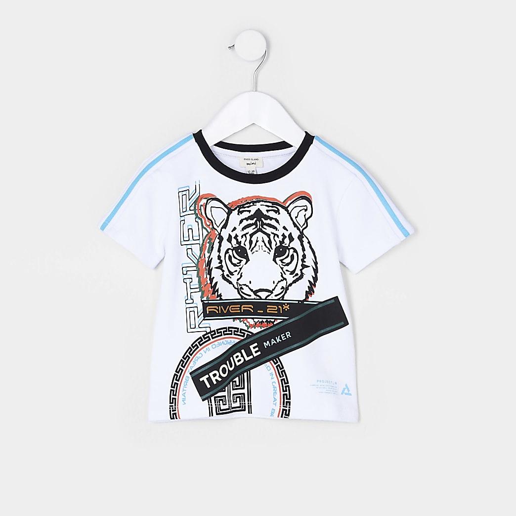 Mini boys white RI tiger t-shirt