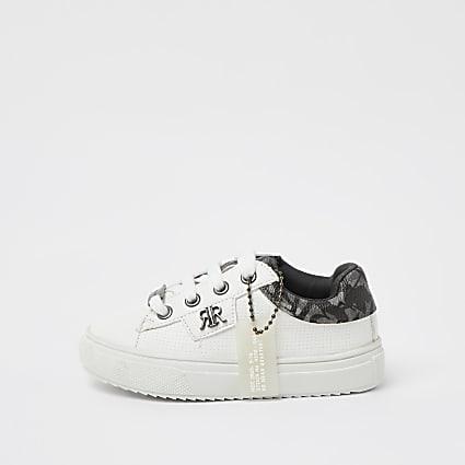 Mini boys white RIR camo plimsoles