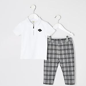 Mini - Witte outfit met RIR poloshirt voor jongens