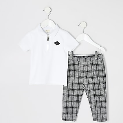 Mini boys white RIR polo top outfit