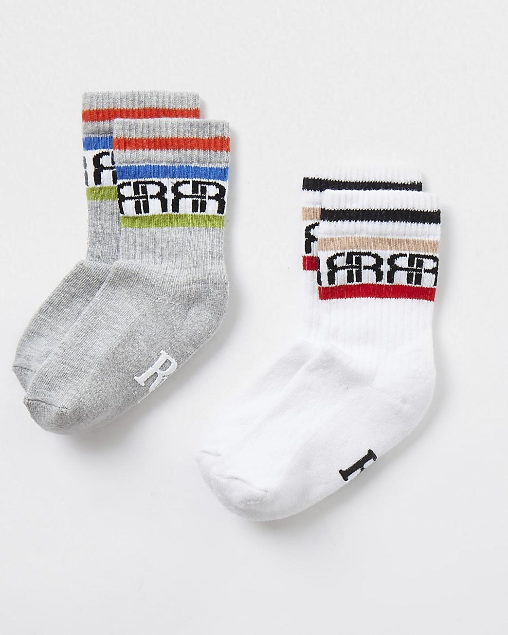 Mini boys white RIR sport socks 2 pack