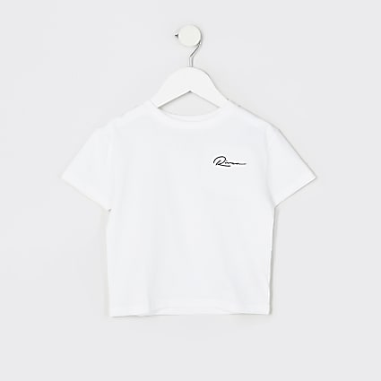 Mini boys white 'River' boxy t-shirt