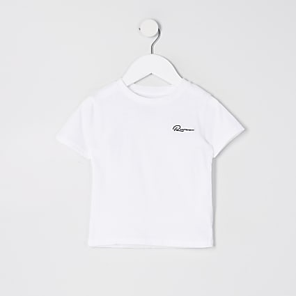 Mini boys white 'River' embroidered T-shirt