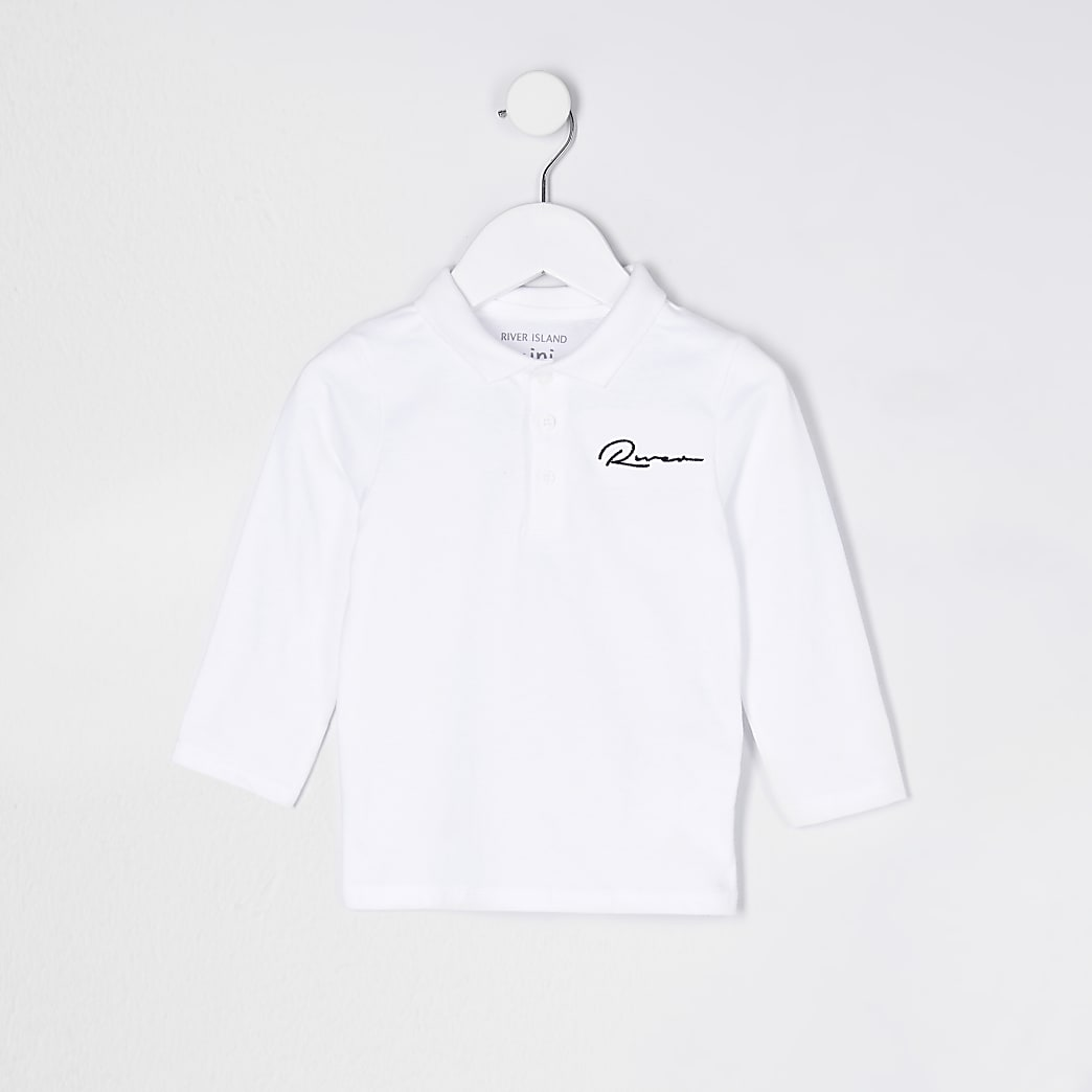 Mini boys white River long sleeve polo shirt