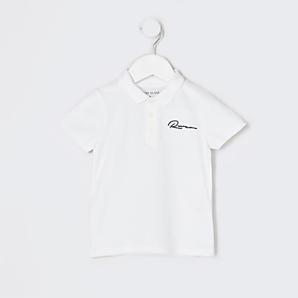 Mini boys white 'River' polo shirt