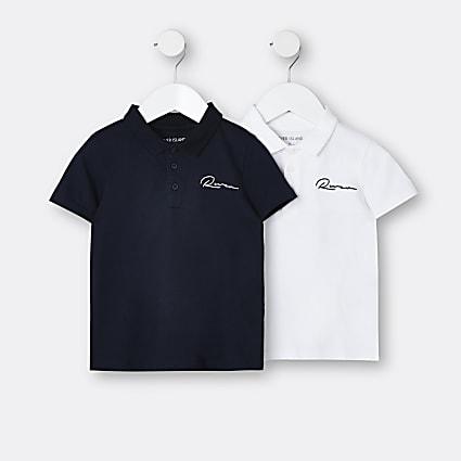 Mini boys white River polo shirts 2 pack