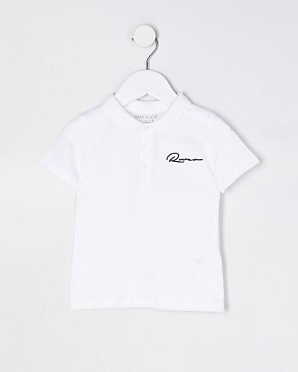 Mini boys white River short sleeve polo shirt