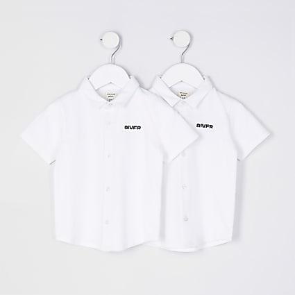 Mini boys white River shorts 2 pack