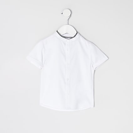 Mini boys white RVR grandad collar shirt