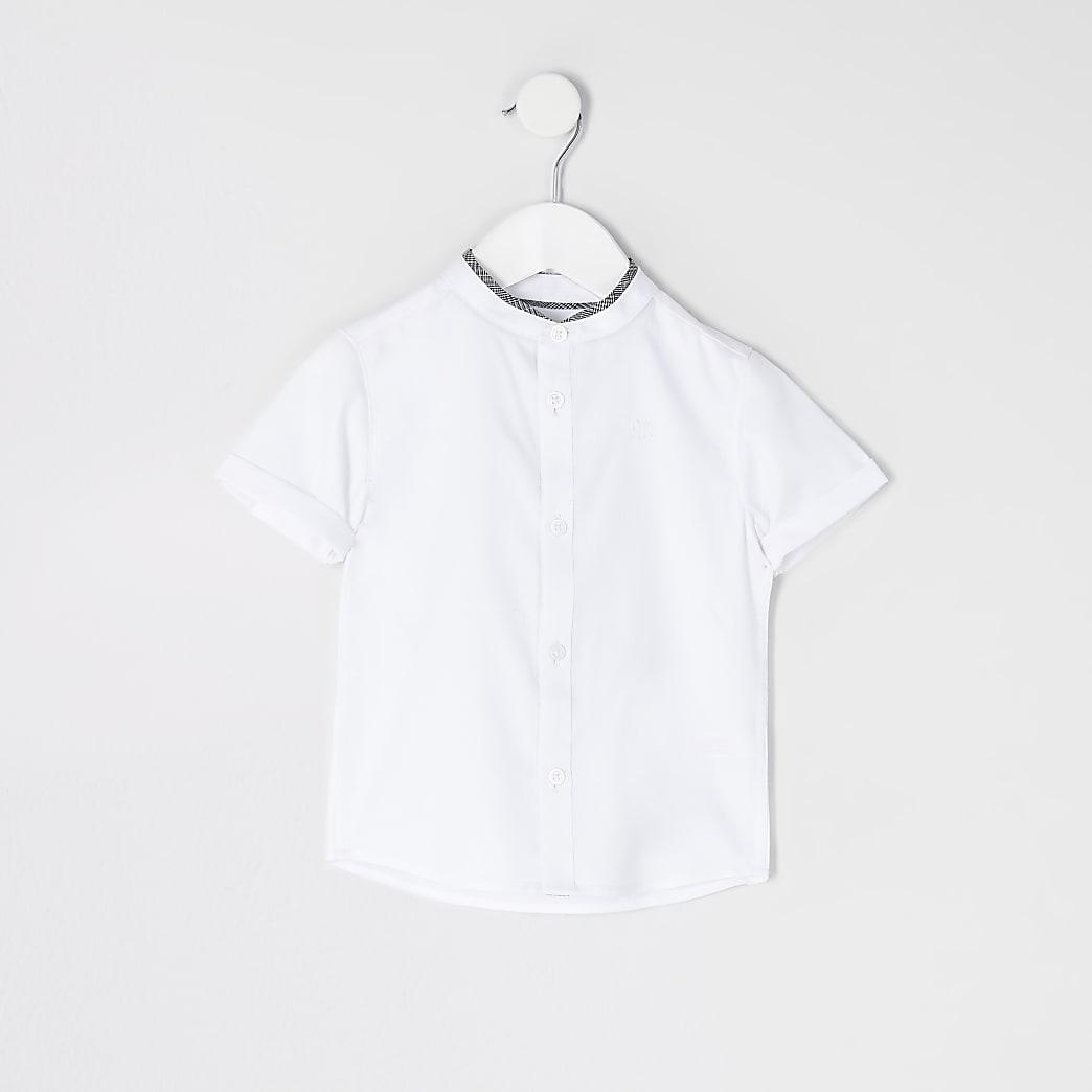 Mini boys white RVR grandad collar shirt