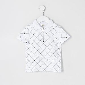Mini - Wit poloshirt met halve ritssluiting en RVR-print voor jongens