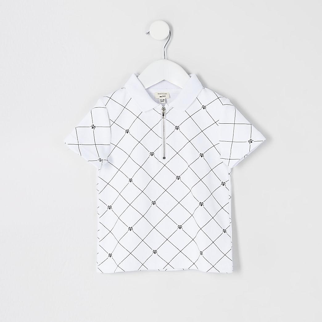 Mini boys white RVR half zip polo shirt