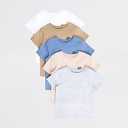 Mini boys white RVR T-shirt 5 pack