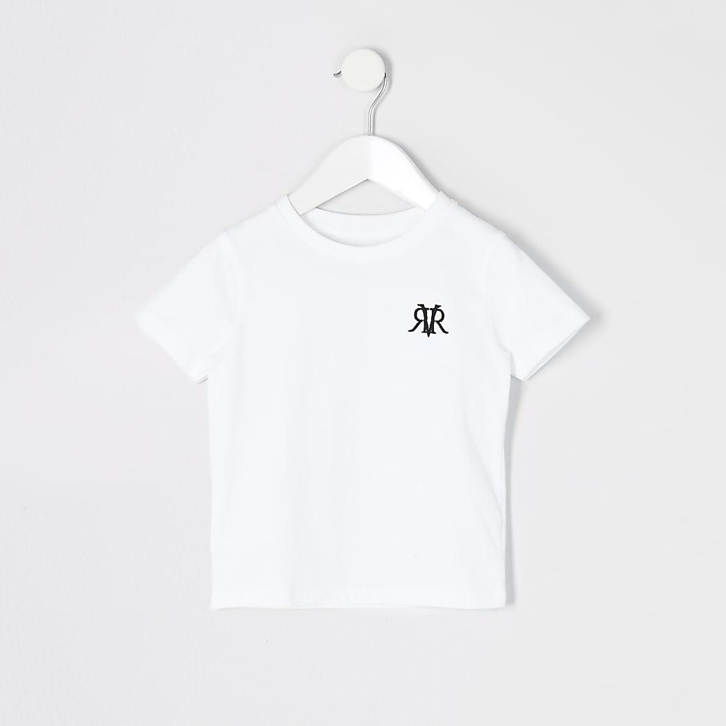 Mini - Wit T-shirt met RVR-print voor jongens