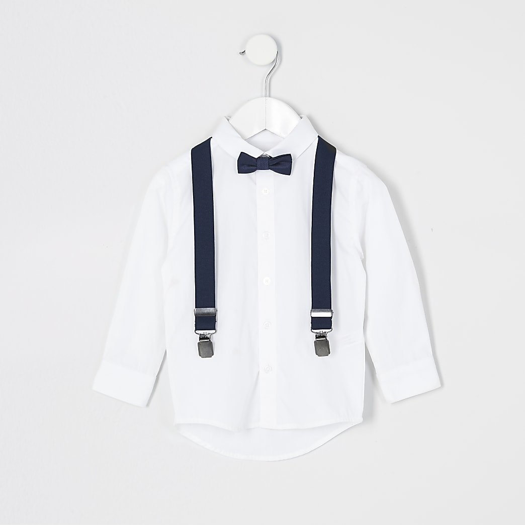 Mini - Witte outfit met overhemd en vlinderdas voor jongens
